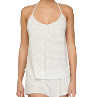 Love Letters Striped T-Back Lounge Camisole, Marble, Size: