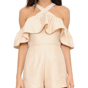 Nude Ruffle Halter Off-the-Shoulder Romper