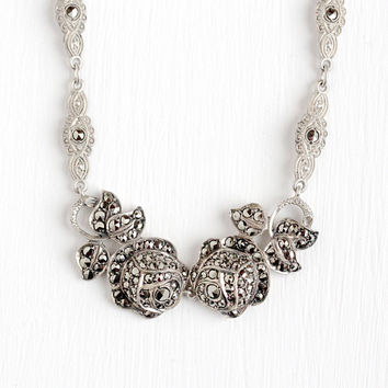 Vintage Art Deco Sterling Silver Rose Flower Marcasite German Necklace - 1930s Sparkly Stone Milgrain Panel Floral Made in Germany Jewelry