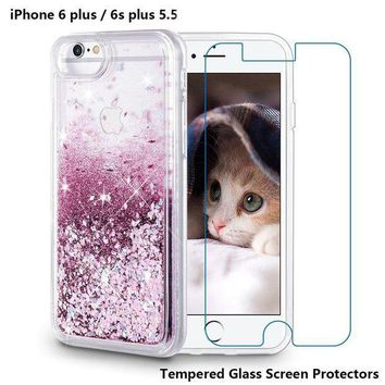 ESB5 iPhone 6 Plus Case, iPhone 6S Plus Case, Maxdara [Tempered Glass Screen Protector] Glitter Liquid Sparkle Protective Bumper Case Floating Bling Pretty Quicksand for Girls Children 5.5 inch (Rosegold)
