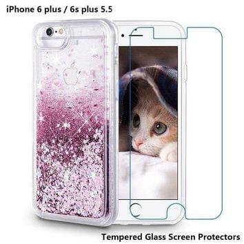 ESBRQ5 iPhone 6 Plus Case, iPhone 6S Plus Case, Maxdara [Tempered Glass Screen Protector] Glitter Liquid Sparkle Protective Bumper Case Floating Bling Pretty Quicksand for Girls Children 5.5 inch (Rosegold)