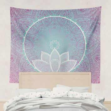 Reiki Charged Lotus Mandala Tapestry Wall Hanging Art Meditation Yoga Buddha Hippie Pink and Blue