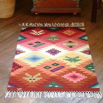 Wool rug, 'Masks' (2x3)