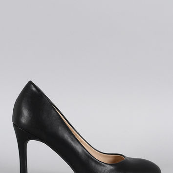 Bamboo Plain And Simple Almond Toe Pump