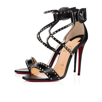 Christian Louboutin Cl Choca Spikes Black/nikel Leather Sandals 3170560m914