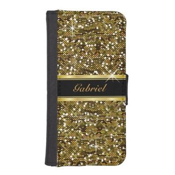 Gold Glitter Confetti Print iPhone 5 Wallet Cases
