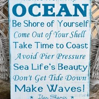 Beach Sign Advice From The Ocean Decor Wood Nautical House Plaque