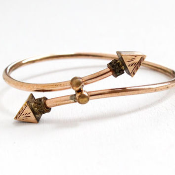 Antique Rose Gold Filled Victorian Era Bypass Bracelet - 1880s Wrap Bangle Pointed Arrow Tip Jewelry