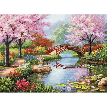 "16""X12"" 16 Count Gold Collection Japanese Garden Counted Cross Stitch Kit"