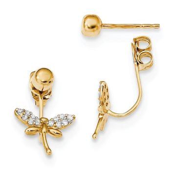 14K Yellow Gold w/ CZ Dragonfly Front & Back Earrings