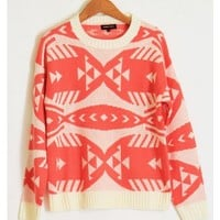 Coral Tribal Sweater