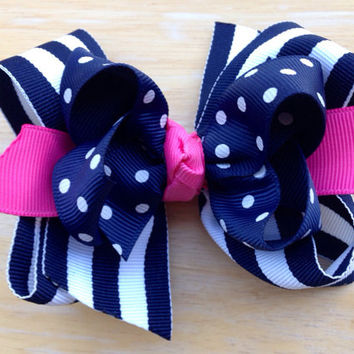 Navy, white & pink double boutique bow - navy boutique bow