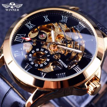 Winner 2016 Male Wrist Watch Luxury Skeleton Mens Watches Top Brand Luxury Automatic Watch Small Dial Golden Case Fashion Casual
