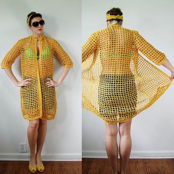 VINTAGE 1960s RAMIE Sunflower Yellow Beach Cover Up for Bathing Suit Fish Net