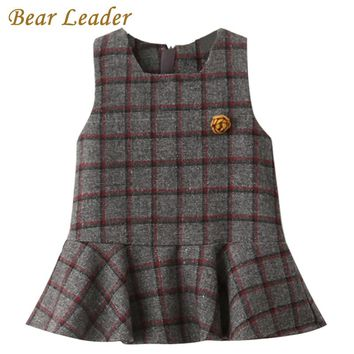 Bear Leader Girls Dress 2017 New Autumn Brand Girls Clothes Sleeveless Classical Plaid With Flower Accessories Children Clothing