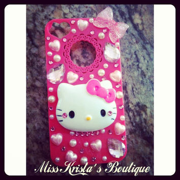 Cute Hello Kitty Iphone 4 Case Hot Pink with pearls bows and bling