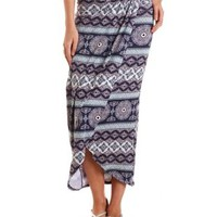 Gathered Tulip Slit Maxi Skirt by Charlotte Russe