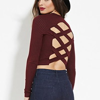 Marled Strappy Cutout Crop Top