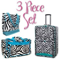 Zebra 3 Piece Luggage Set - 1 Suitcase, 1 Duffel, 1 Tote - Blue Trim