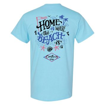 Coastlines Designs Home is Where the Beach Is on a Sky Blue T Shirt