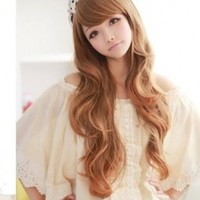 X&Y ANGEL New Fashion Ladies' Fluffy Personality Kanekalon Long Wavy Human Hair Wig Wigs Light Brown XY011 (light brown)