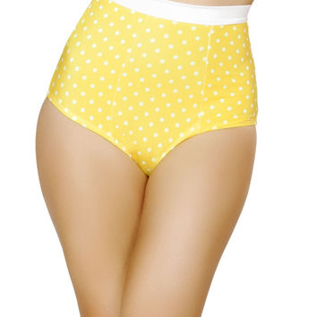 Yellow and White Pinup Style High-Waisted Banded Shorts