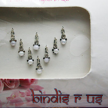 Pearl Silver Bindis Original Pretty Collection.