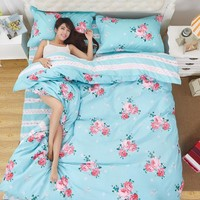 Fragrance florid Polyester Duvet Cover set 4 pcs duvet Cover Bedding set lattice style Queen size Full Twin