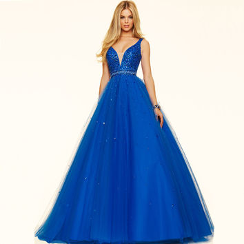 Luxurious Sexy Deep V-Neck Beaded Crystal Sequined Baile Prom Dress Ball Gown Women Formal Gowns Long Vestidos de noche 2017
