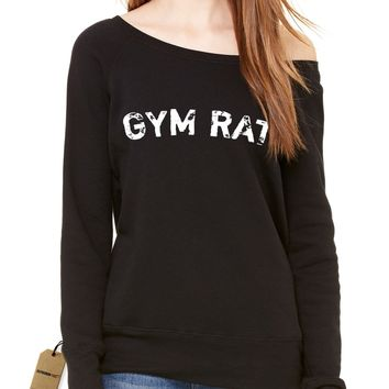 Gym Rat Workout Slouchy Off Shoulder Oversized Sweatshirt