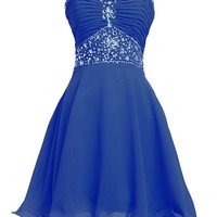 Fashion Plaza Short Chiffon Strapless Crystal Homecoming Dress D0263 (US2, Navy Blue)