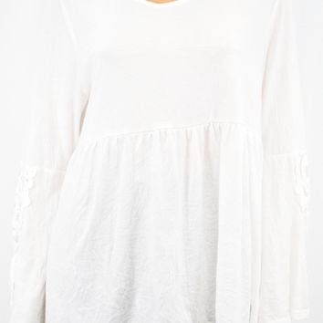 Style&Co Women's White Lace-Trim Babydoll Blouse Top X-Large XL