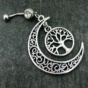 Half crescent moon, Tree of Life 14 gauge stainless steel dangle belly button navel rings, body jewelry, 14g