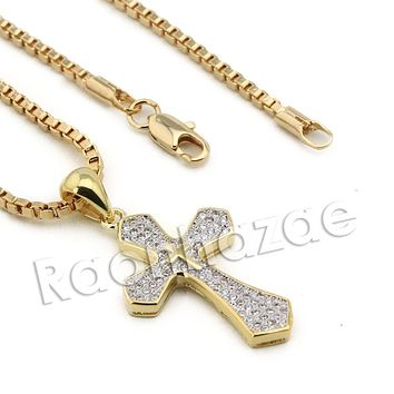 Lab diamond Micro Pave Classic Jesus Cross Pendant w/ Miami Cuban Chain BR131