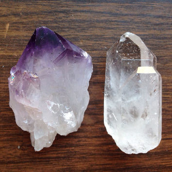 Raw Amethyst Raw Clear Quartz Crystal Healing Crystals and Stones Amethyst Crystal Bohemian Decor Meditation Tool Om