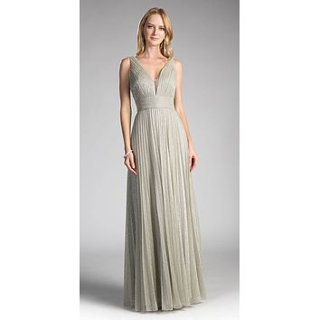 Sage Green Ruched V-Neck and Back Pleated Long Formal Dress