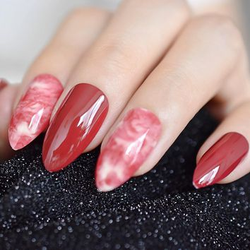 Almond Stiletto Bordeaux Red Marble False Nail Finger Tips Claret-red Acrylic Atificail Pre Design Fake Nail Art For Salon Party
