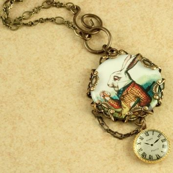 White Rabbit Necklace Alice in Wonderland Pocket Watch Brass Filigree Vintage Style Altered Art