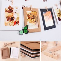 10pcs/set 3/6 inch Kraft Paper Photo Frame For Pictures Vintage Frame Photo DIY Baby Photo Frame Wedding Photo Frame Wall Decor