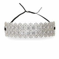 Fallon Monarch Chantilly Leather XL Choker Necklace with Crystals