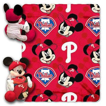 "PHILADELPHIA PHILLIES 40""X50"" DISNEY MICKEY MOUSE HUGGER PILLOW & THROW BLANKET"