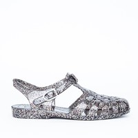 Missguided - Flat Jelly Shoes Black Glitter