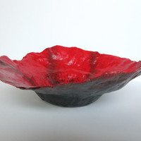 Paper mache bowl. Decorative bowl. Stylish gift. Handmade work of art. Hand painted. Poppy Art. Centerpiece or focal point in any room.