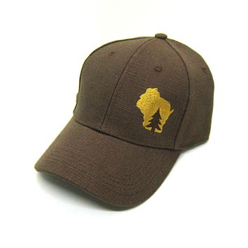 Wisconsin Hat - Brown Hemp Snapback  - pine tree in wisconsin gold state