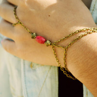Slave Bracelet Hand Bracelet  Piece Hipster Bronze Chain Bohemian Hand Jewelry Bright Red Sandara
