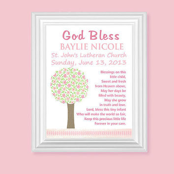 Baptism Poem, Nursery Art Print, Christening Prayer, Girls Room Art, Children's Decor, Pink, Personalized, 8 x 10 or 11 x 14