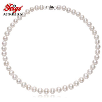 Feige Fine Jewelry Genuine 8-9mm Natural Oval White Freshwater Pearl Choker Necklace For Women's Bride Pearl jewelry