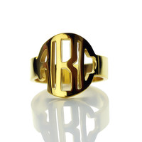 "0.47"" Circle Block Monogram Ring Personalized Gold 3 Initials Monogrammed Name Ring Name Jewelry Christmas Gift"