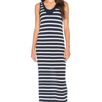NWT SPLENDID STRIPED SWEATER MAXI DRESS, NAVY & WHITE, SIZE LARGE