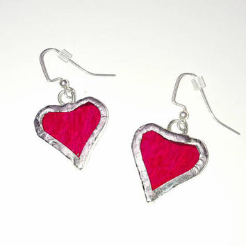 Stained Glass Heart Earrings, Red Heart Earrings, Valentines Day Gift, Romantic Gift, Dangle Drop Earrings, Heart Jewelry, Anniversary Gift